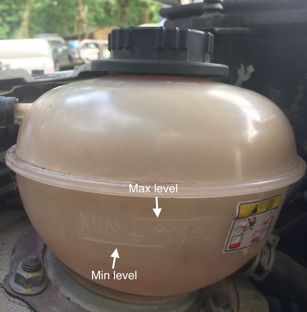 Coolant reservoir min and max level