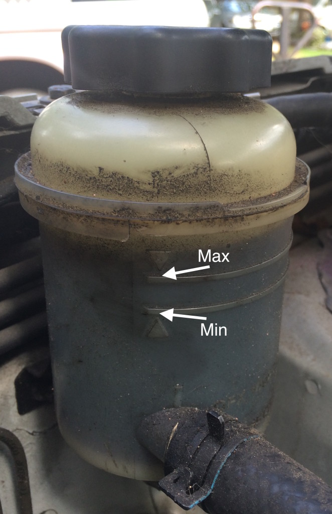Power steering fluid min and max